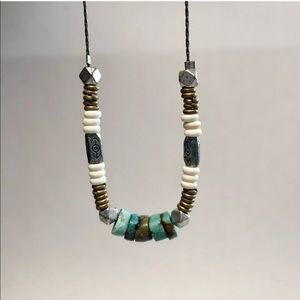 Turquoise Multi Disc Necklace Silver tone